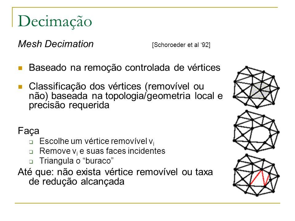 Decimação Mesh Decimation [Schoroeder et al '92]